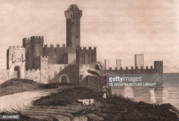 Scaligera castle in Sirmione Lake Garda Lombardy Italy steel engraving ca 197x294 cm from L'Italia la Sicilia le isole Eolie l'isola d'Elba la...