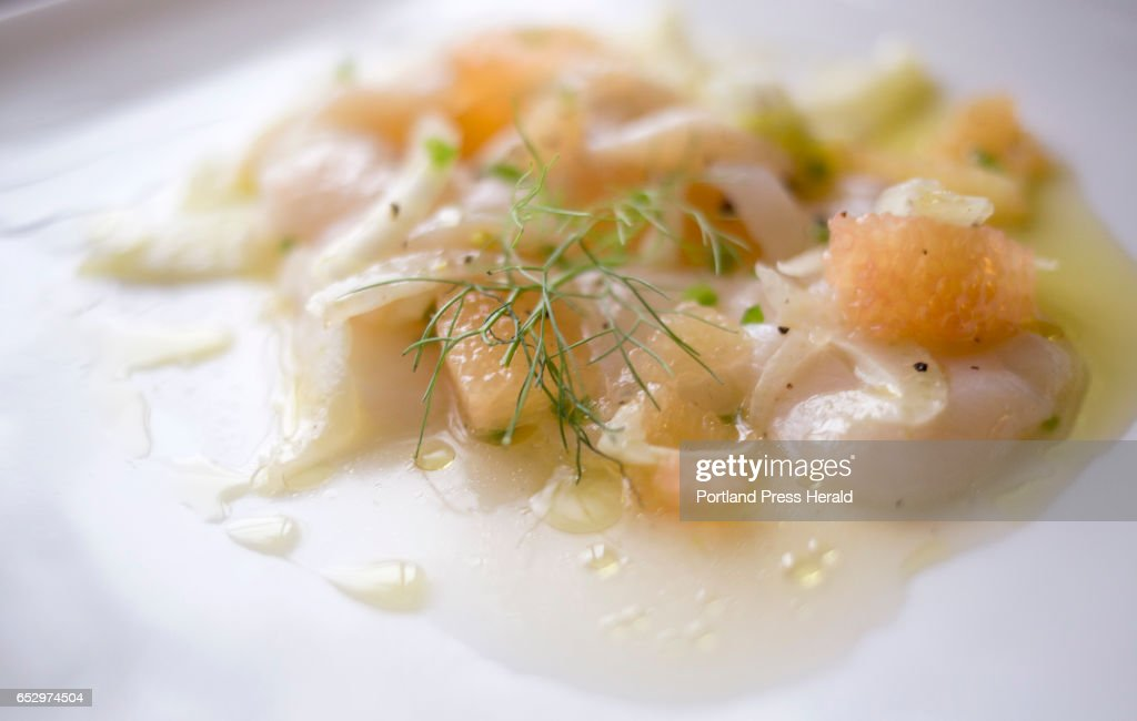 Scallop crudo with grapefruit, fennel and chili.