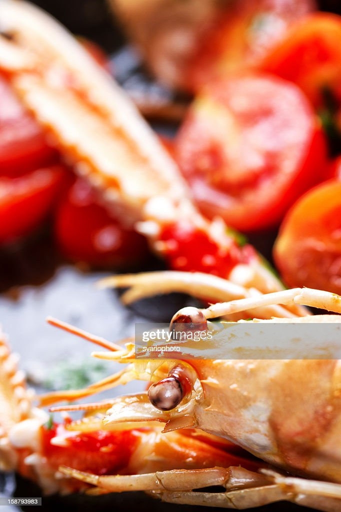Scampi cooked with tomatoes and parsley : Stock Photo