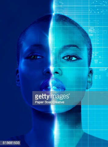 Scan of a woman with data graphic overlay
