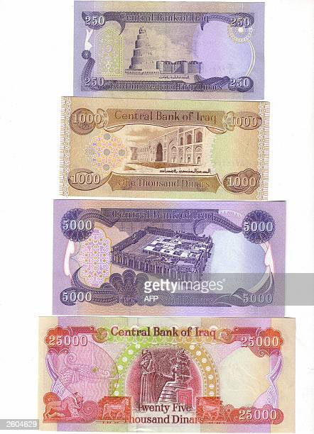 Scan of the new Iraqi dinar bills in Baghdad 16 October 2003 Iraqi banks began to exchange the country's old currency emblazonned with the face of...