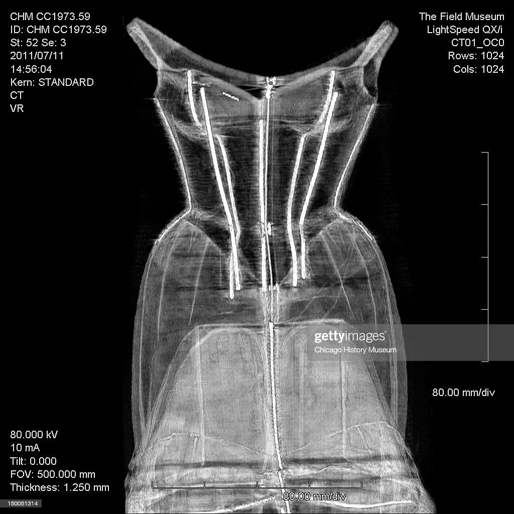 CT scan of Tree evening dress Silk taffeta by Charles James Known as the 'Tree' gown numerous versions of this dress were created in various colors...