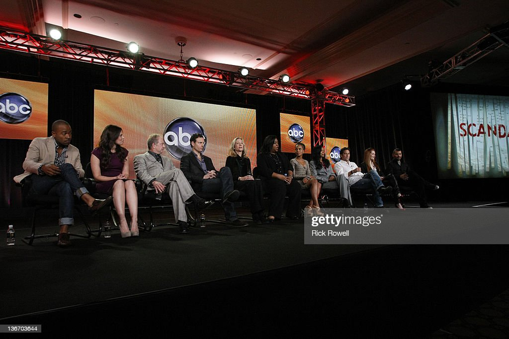 TOUR 2012 - 'Scandal' Session - The cast and producers of ABC's 'Scandal' addressed the press at Disney/ABC Television Group's Winter Press Tour 2012. COLUMBUS SHORT, KATIE LOWES, JEFF PERRY, TONY GOLDWYN, BETSY BEERS (EXECUTIVE PRODUCER), SHONDA RHIMES (CREATOR/EXECUTIVE PRODUCER), KERRY WASHINGTON, JUDY SMITH (CO-EXECUTIVE PRODUCER), HENRY