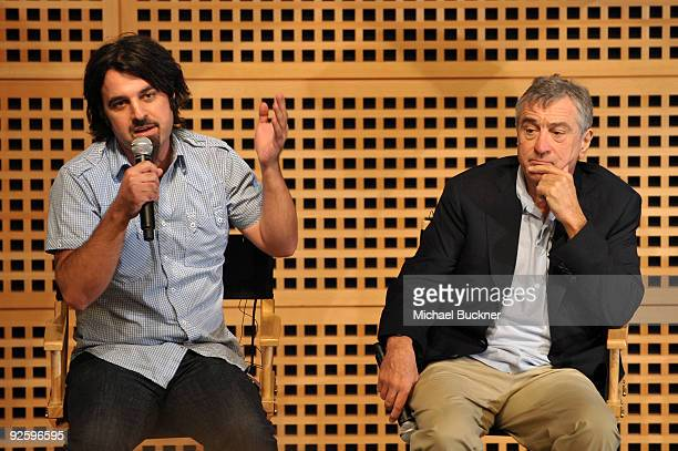 Scandar Copti and Robert De Niro speak during 'One Minute Films Special Event with Robert De Niro Jane Rosenthal Geoff Gilmore Hiam Abbass and...
