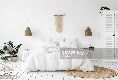 Scandi-boho style bedroom : Stock Photo