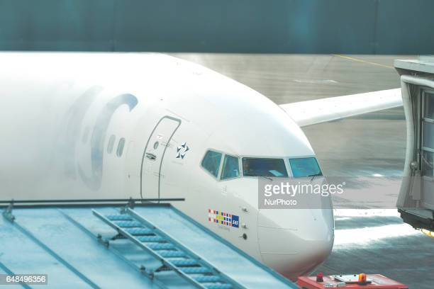 Scandinavian Airlines airplane snow removal at Stockholm Arlanda Airport On Monday March 06 in Stockholm Sweden