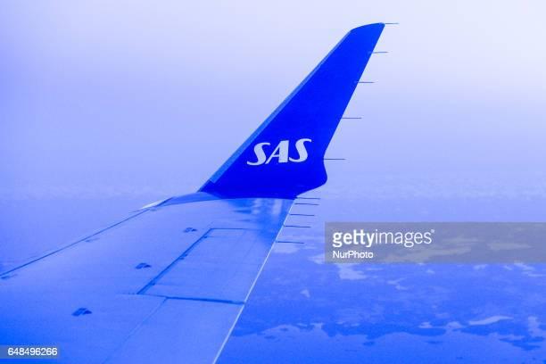 Scandinavian Airlines plane over Stockholm Arlanda Airport On Monday March 06 in Stockholm Sweden