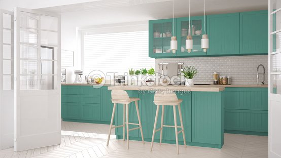 Scandinavian classic kitchen with wooden and turquoise details, minimalistic interior design : Stock Photo