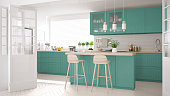 Scandinavian classic kitchen with wooden and turquoise details, minimalistic interior designScandinavian classic kitchen with wooden and gray details, minimalistic interior designScandinavian classic