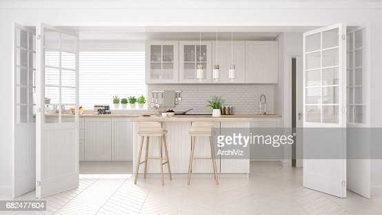 Scandinavian classic kitchen with wooden and white details, minimalistic interior design : Stock Photo