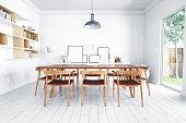 Interior of Scandinavian style dining room.