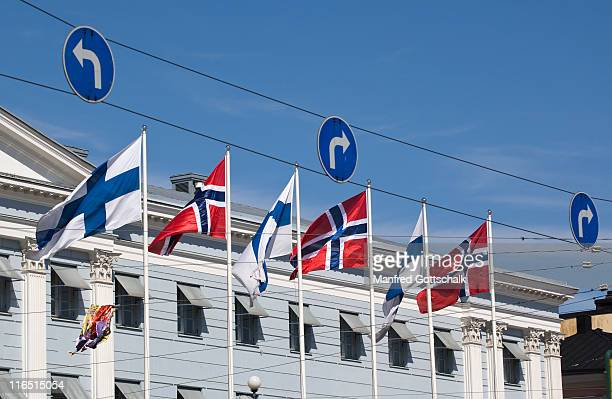 scandinavian flags Helsinki City Hall