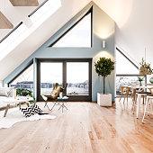 Scandinavian loft interior. Render image.