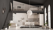 Scandinavian minimalist loft, one-room apartment with white kitchen, living and bedroom, classic interior design