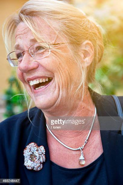 Scandinavian Senior Woman Laughing.