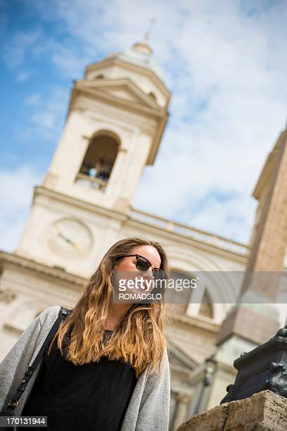 Scandinavian tourist on the Spanish Steps in Rome, Italy