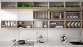 Scandinavian white kitchen, shelving system, minimalistic interior design