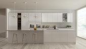 Scandinavian white kitchen with wooden and white details, minimalistic interior design