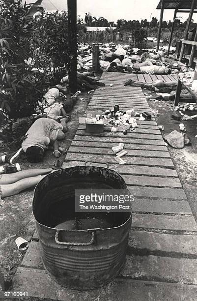 Scanned from original by Johnston on WLG CREDIT Photo by FRANK JOHNSTON / The Washington Post JONESTOWNGUYANA1978 People lie on the ground dead from...