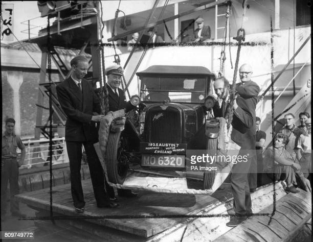 *Scanned low res from a contact* A run from Buenos Aires to New York faces this 1925 Austin 7 'baby' car which was shipped in the Royal Mail Lines'...
