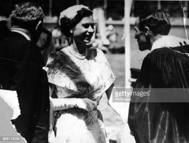 **Scanned lowres from contact** The Queen talks with the Lord Mayor Alderman Pat Hills and the New South Wales Premier Joseph Cahill left after...
