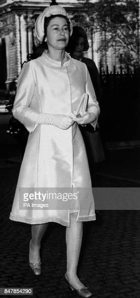 *Scanned lowres from print highres available on request* Queen Elizabeth II arriving at Westminster Abbey for a special communion service to...