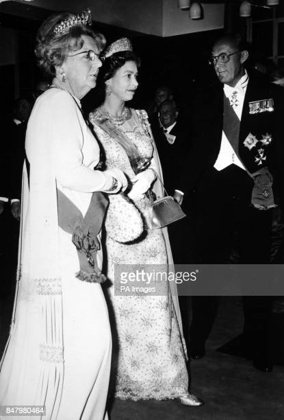 *Scanned lowres from print highres available on request* Queen Elizabeth II with Queen Juliana of the Netherlands and Prince Bernhard when the Dutch...