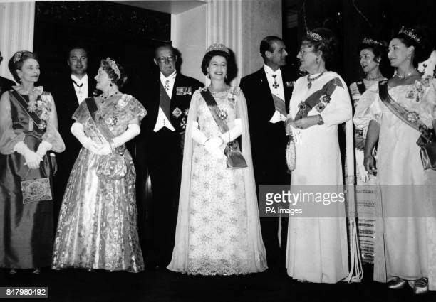 *Scanned lowres from print highres available on request* Queen Juliana and Prince Bernhard of the Netherlands with British Royal guests at the...