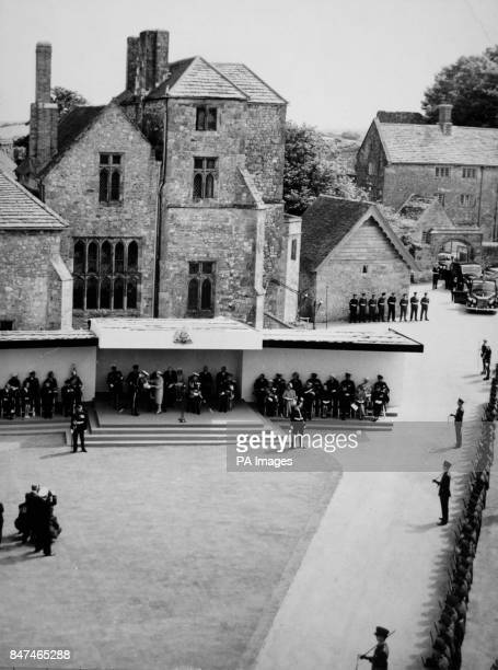 *Scanned lowres from print highres available on request* The scene at Carisbrooke Castle Isle of Wight as Queen Elizabeth II installed Admiral of the...