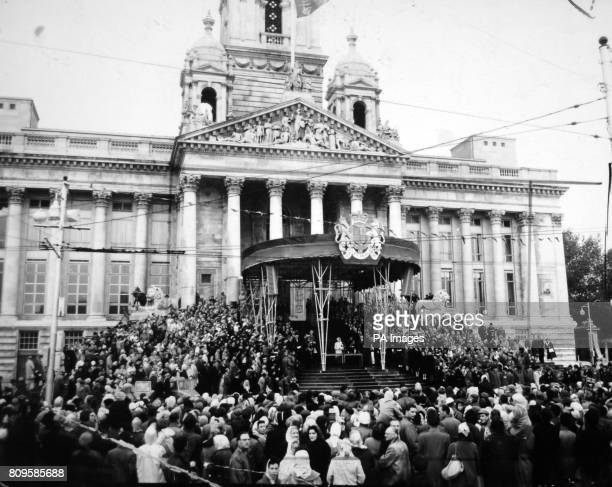 **Scanned lowres off contact** The Queen and Duke of Edinburgh on the steps of the restored Guildhall at Portsmouth during the opening ceremony The...