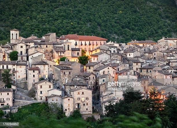 Scanno paesaggio urbano al tramonto, L'Aquila Provincia, Abruzzo Italia