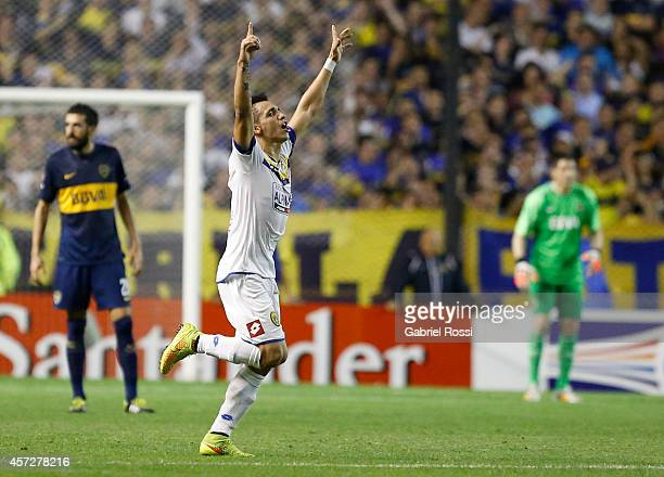 Óscar Ruiz of Deportivo Capiata celebrates an own goal scored by Lisandro Magallán of Boca Juniors during a match between Boca Juniors and Deportivo...