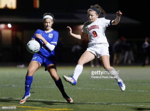 Scarborough vs Kennebunk Class A South championship game Lauren Sabatino of Scarborough advances the ball past Lily Schwartzman of Kennebunk in the...