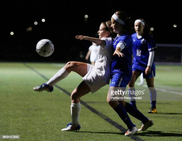 Scarborough vs Kennebunk Class A South championship game Lauren Sabatino of Scarborough controls the ball as Lily Schwartzman of Kennebunk defends in...