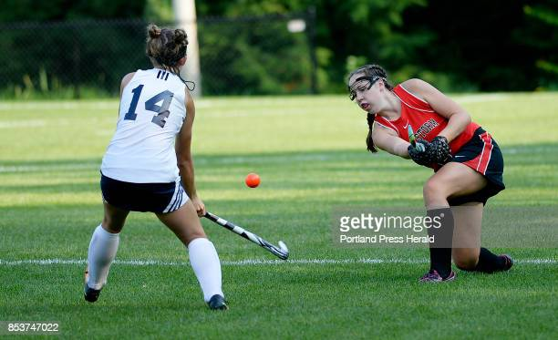 Scarborough's Anna Walker lifts the ball pas Mary Keef of Westbrook Friday September 15 2017