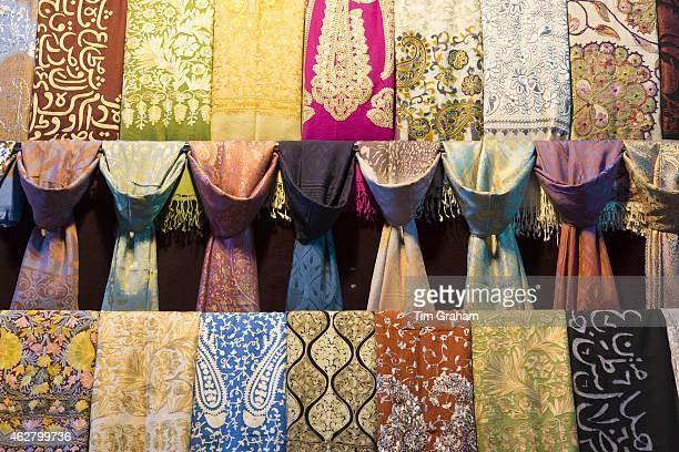 Scarf designs silk cashmere embroidered scarves in The Grand Bazaar Kapalicarsi great market Beyazi Istanbul Turkey