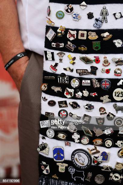 A scarf of a Derby County supporter is pictured prior to the Sky Bet Championship match between Brentford and Derby County at Griffin Park on...