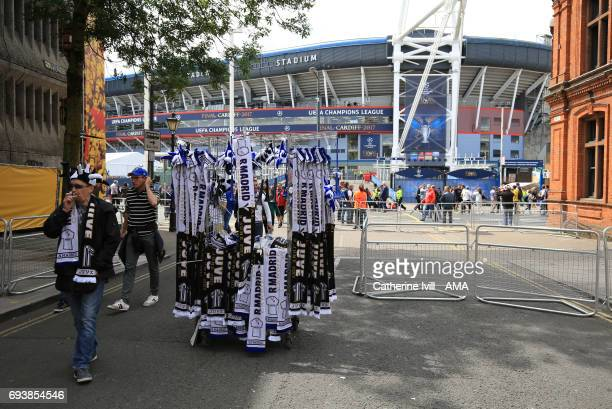 Scarf seller outside the stadium ahead of the UEFA Champions League Final match between Juventus and Real Madrid at National Stadium of Wales on June...