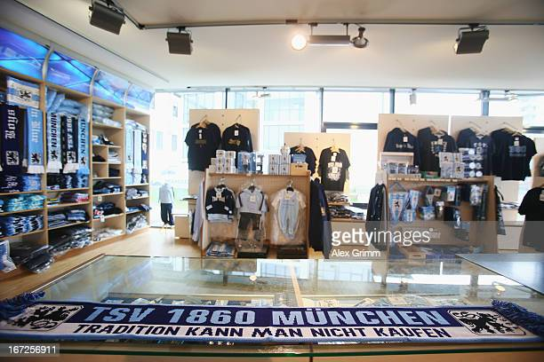 A scarf with 'You can not buy tradition' is seen in the TSV 1860 Muenchen fan shop at the club's premises on April 23 2013 in Munich Germany