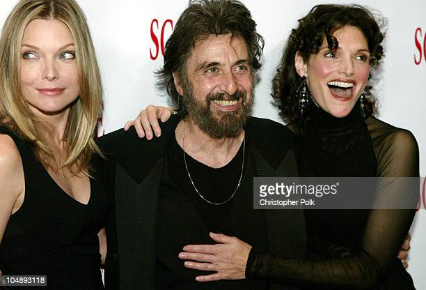 'Scarface' cast members Michelle Pfeiffer Al Pacino and Mary Elizabeth Mastrantonio reunite at the 20th Anniversary premiere event celebrating the...