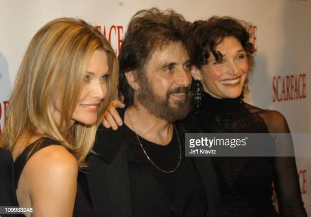 Scarface cast members Michelle Pfeiffer Al Pacino and Mary Elizabeth Mastrantonio reunite at the 20th Anniversary premiere event celebrating the...