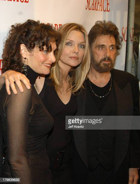 Scarface cast members Michelle Pfeiffer Al Pacino and Mary Elizabeth Mastrantonio reunite at the 20th Anniversary premiere event celebrating the...