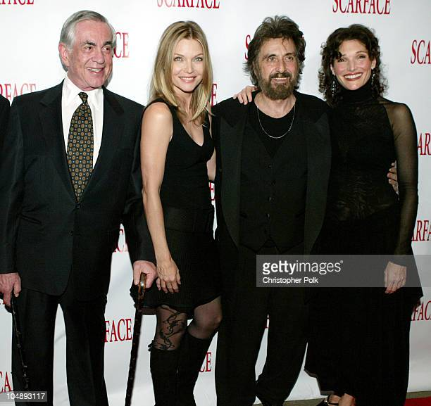 'Scarface' producer Martin Bregman and cast members Michelle Pfeiffer Al Pacino and Mary Elizabeth Mastrantonio reunite at the 20th Anniversary...