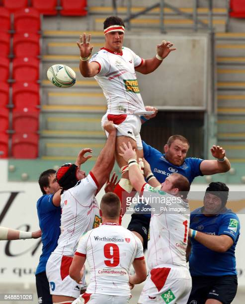 Scarlets Aaron Shingler secures lineout ball during the Heineken Cup match at Parc y Scarlets Llanelli