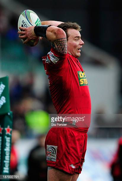 Scarlets captain Matthew Rees in action during the Pool One Heineken Cup Match between Scarlets and Northampton Saints at Parc y Scarlets on January...