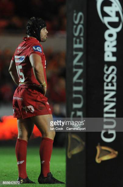 Scarlets' Leigh Halfpenny in action during todays match during the Guinness Pro14 Round 5 match between Scarlets and Connacht Rugby at Parc y...