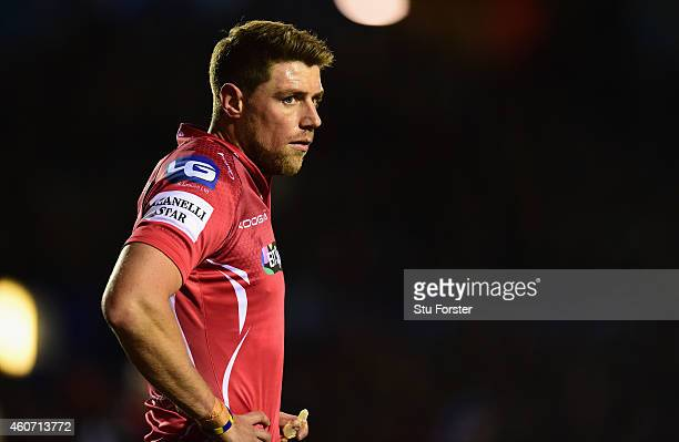 Scarlets player Rhys Priestland looks on during the Guinness Pro 12 match between Cardiff Blues and Scarlets at on December 19 2014 in Cardiff United...