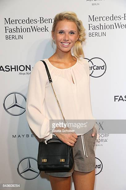 Scarlett Gartmann girlfriend of soccer player Marco Reus attends the Minx by Eva Lutz show during the MercedesBenz Fashion Week Berlin Spring/Summer...