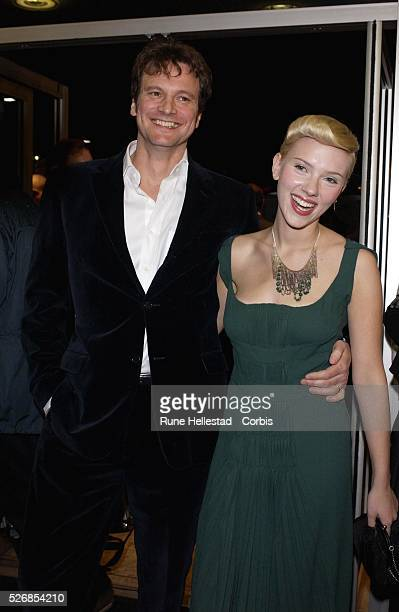 Scarlett Johansson and Colin Firth attend the premiere of 'Girl With A Pearl Earring' at the Odeon WestEnd in conjunction with the London Film...