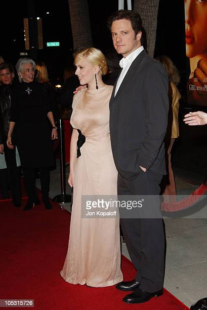 Scarlett Johansson and Colin Firth during 'Girl With A Pearl Earring' Los Angeles Premiere at The Academy of Motion Pictures Arts Sciences in Beverly...